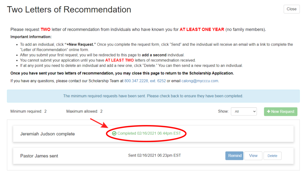 Screenshot example of when a recommender has submitted a Letter of Recommendation