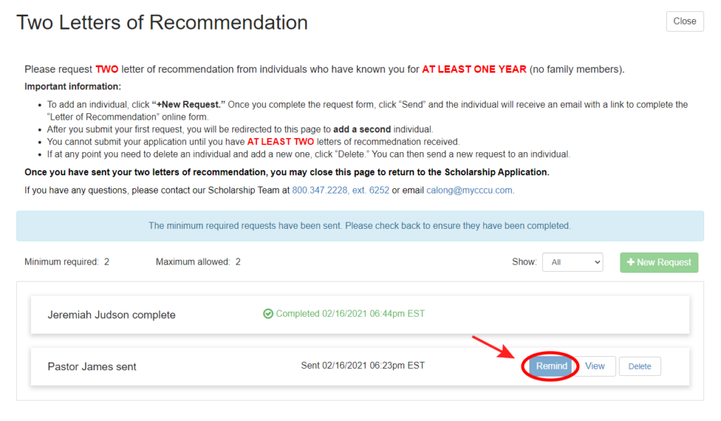 Screenshot of how to remind recommender for Letter of Recommendation